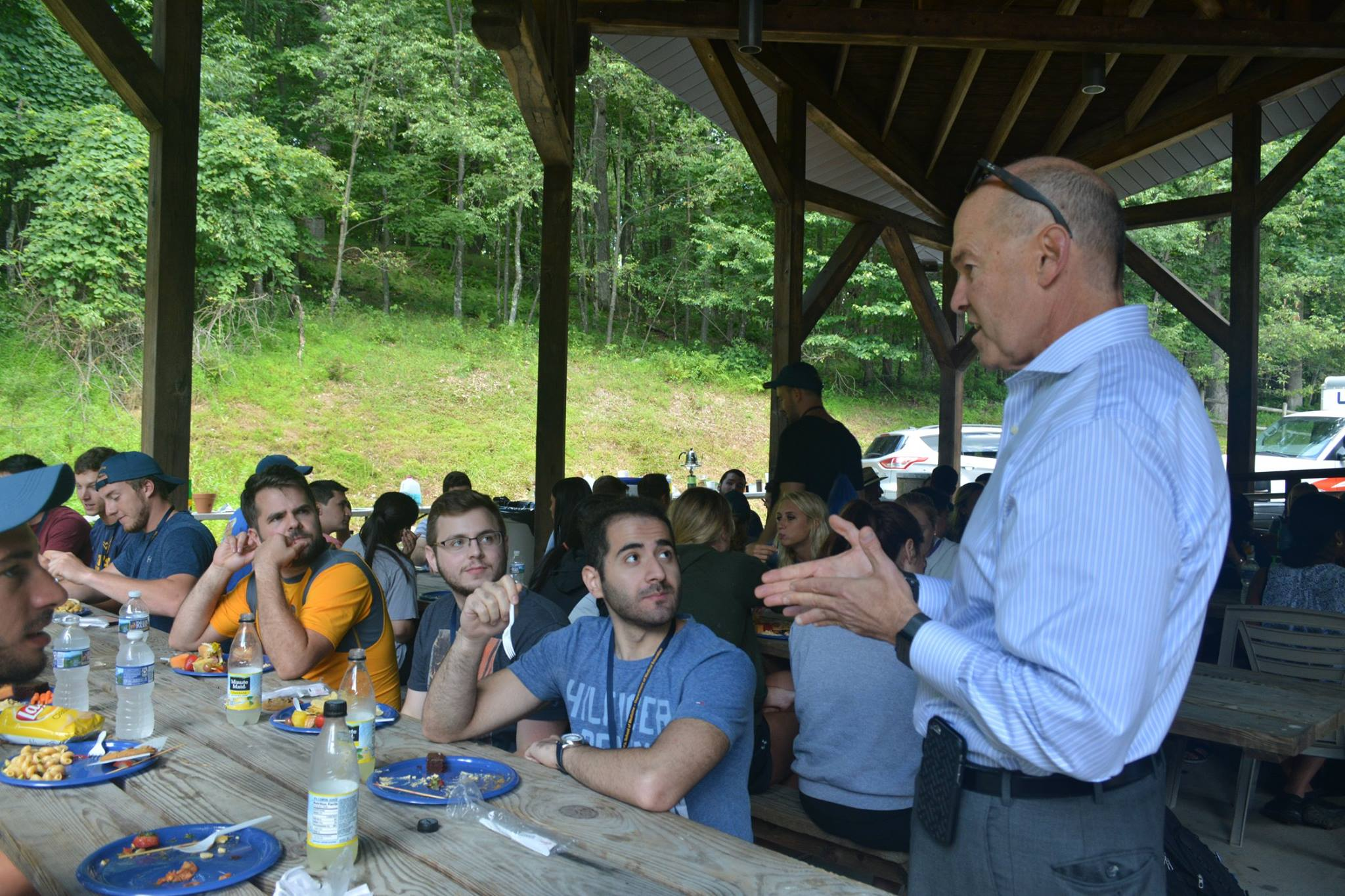 HSC VP Clay Marsh talks with first-year medical students