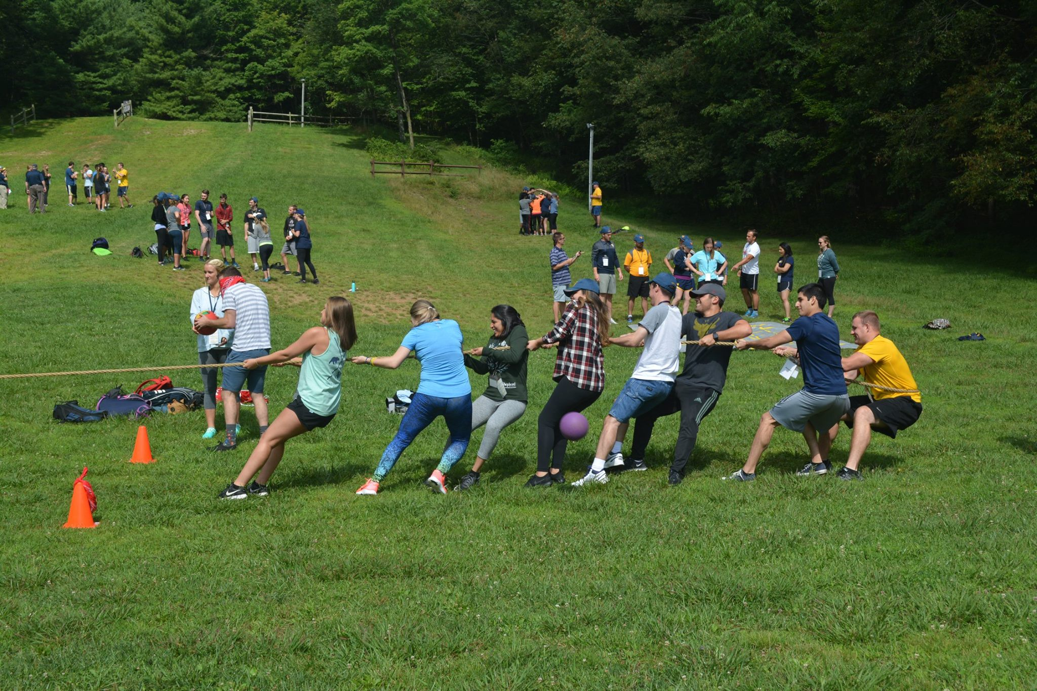 First-year medical students work on team building with a game of tug-of-war