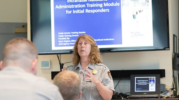 New River Gorge National River Ranger Kathy Zerkle provides training on administering intranasal naloxone to other rangers. Zerkle took part in a train-the-trainer session offered by the West Virginia Office of Emergency Medical Services.