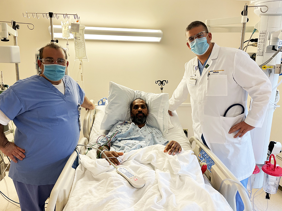 (From left to right) Marco Caccamo, D.O., dual-organ transplant recipient Nark Kumaravelan, and George Sokos, D.O.
