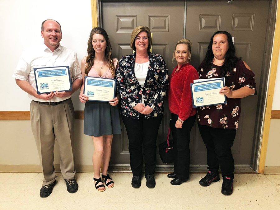Pictured (left to right): Mike Hughes, Courtney VanCamp, Director of Nursing Margaret Denny, Medical/Surgical Unit Nurse Manager Crystal Bragg, Tyvette LeMasters