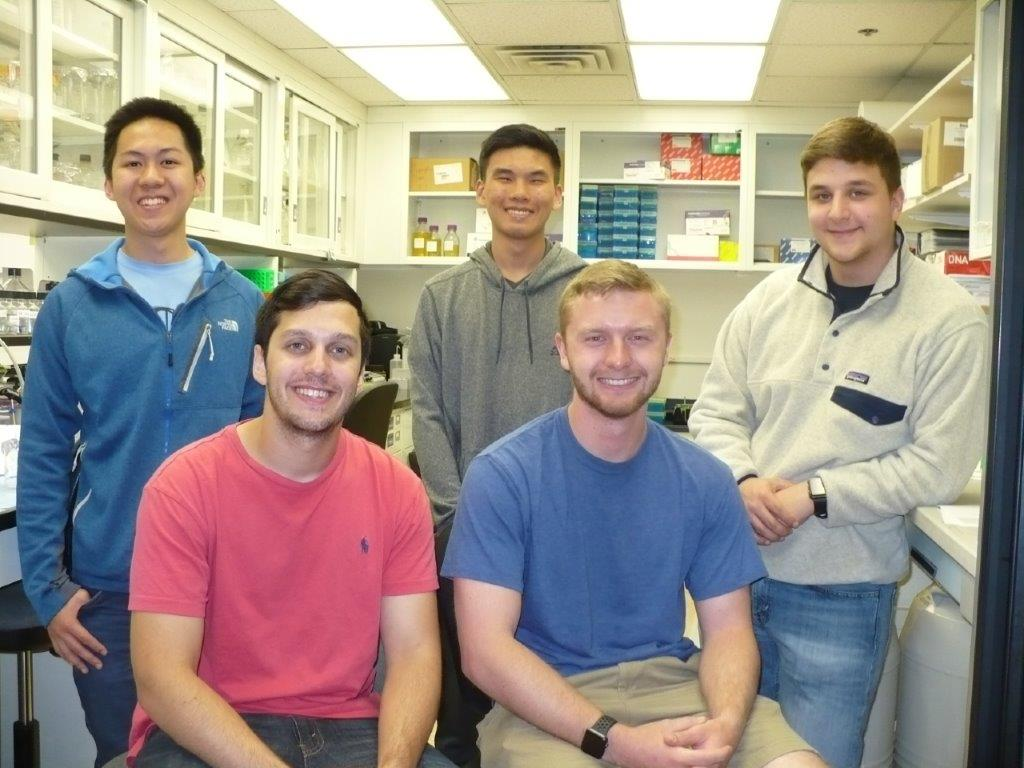(l-r) front row:  Daniel Berrebi and River Hames  (l-r) back row:  Stephen Chen, Emmanuel Chan and Joseph McGuire