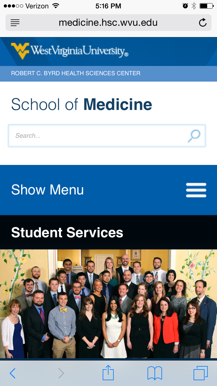 Screencap of WVU School of Medicine mobile website