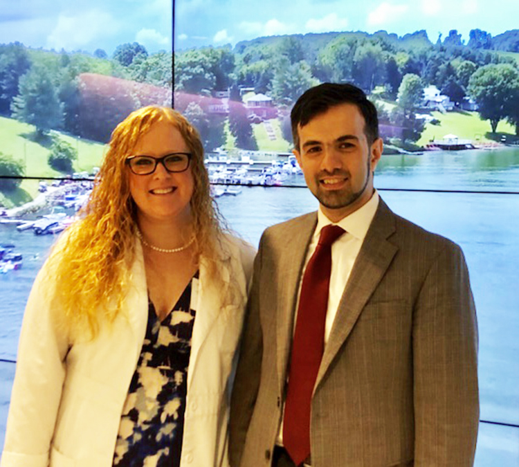 Melissa Crigler, B.S.N., R.N., clinical research specialist at the WVU Heart and Vascular Institute and Mohamad Alkhouli, M.D., medical director of the WVU Heart and Vascular Institute Structural Heart Disease Program