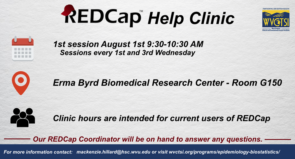 Image containing event details for REDCap Help Clinics