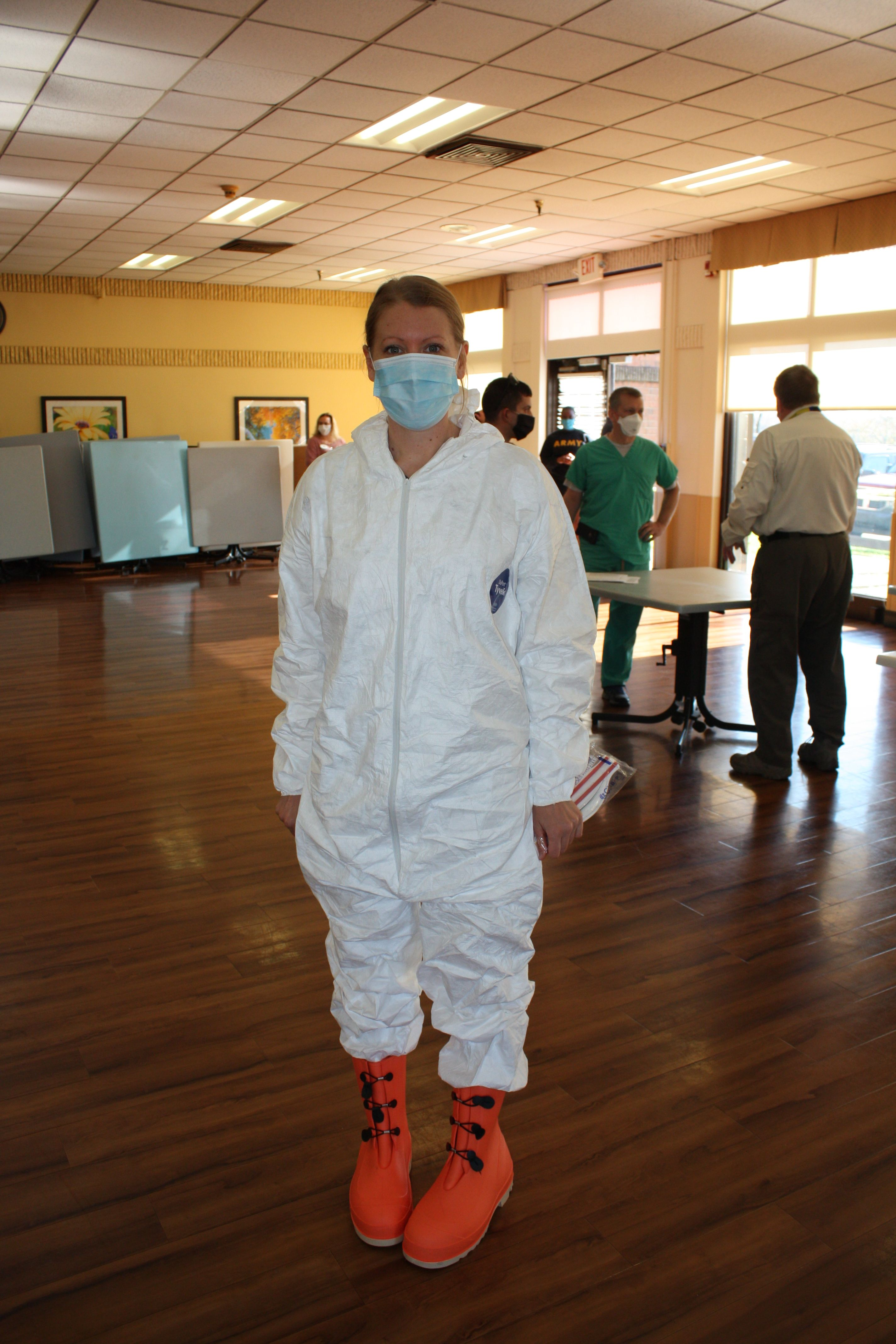 Stacy Tressler prepares to help with COVID-19 testing in a West Virginia nursing home.