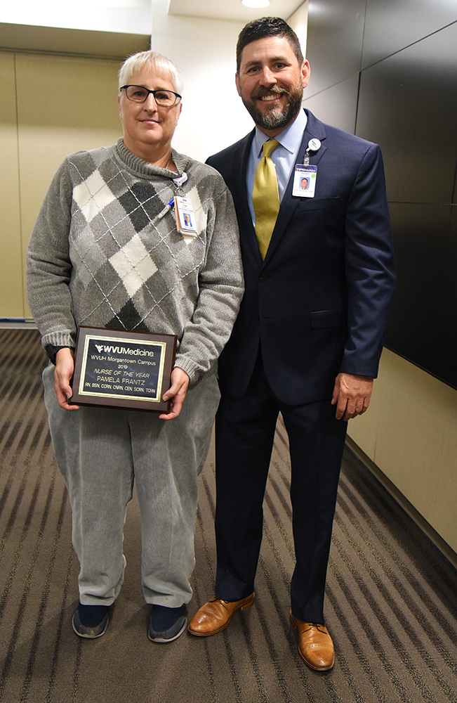 Pamela Frantz, B.S.N., R.N., C.C.R.N., 2019 WVU Medicine-WVU Hospitals Nurse of the Year, and Doug Mitchell, M.S.N., R.N., M.B.A., chief nursing officer