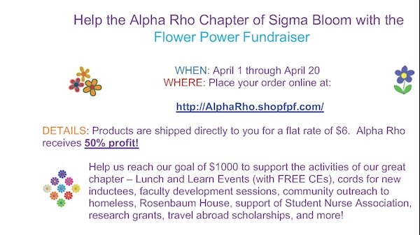 Help the Alpha Rho Chapter of Sigma Bloom with the Flower Power Fundraiser