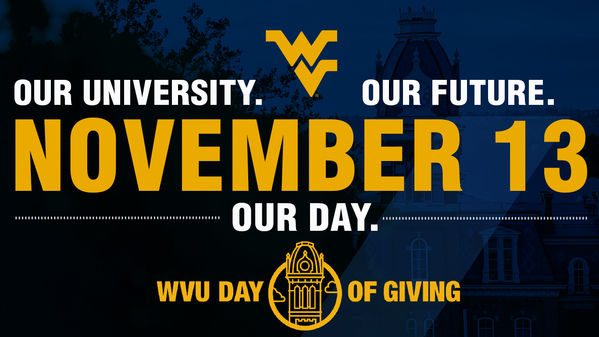 Logo for day of giving event. Includes date - Nov. 13 in large font in the center and it is surrounded by the campaign tag: our university, our future, our day.
