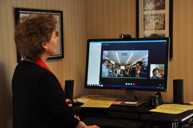 Dr. Hendrix talks to WVU President E. Gordon Gee via Skype