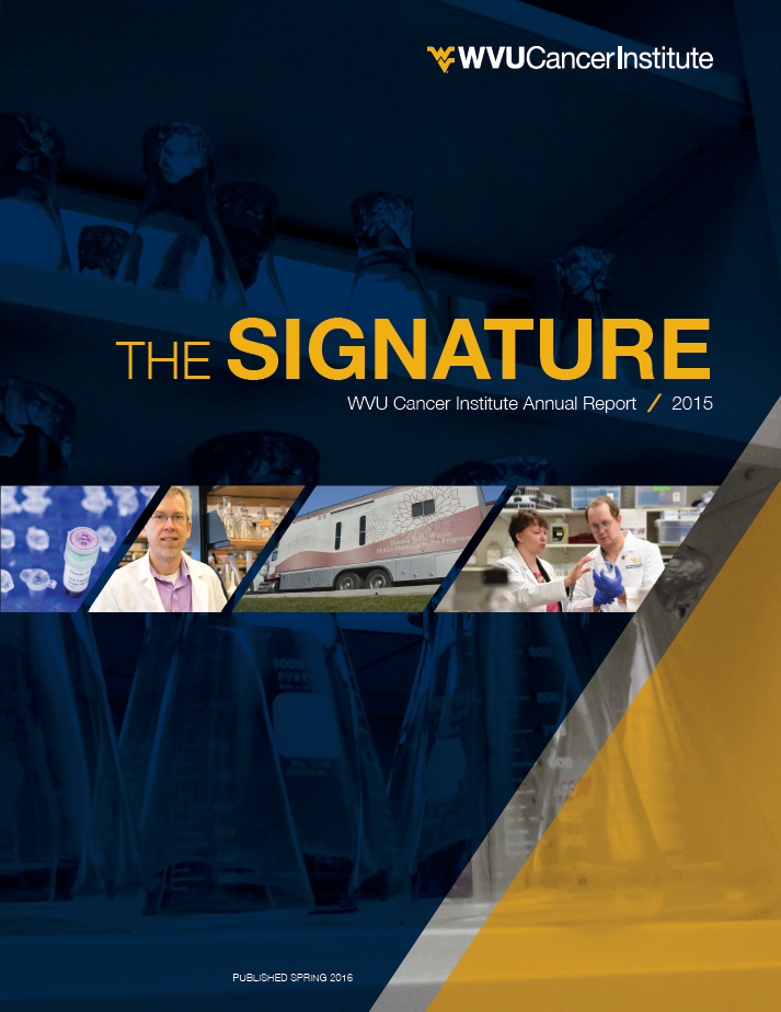 Cover of the WVU Cancer Institute Annual Report.