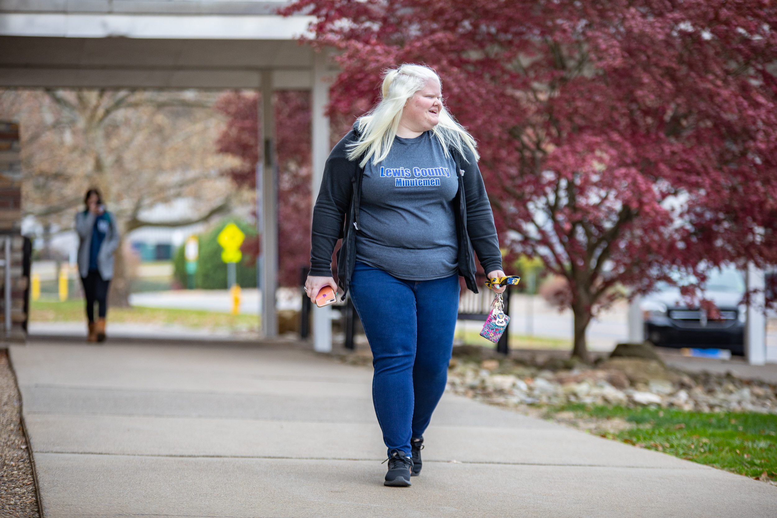 WVU freshman Lauren Clem applies the skills she learned from the WVU Eye Institute's Children's Vision Rehabilitation Program to navigate campus each day.