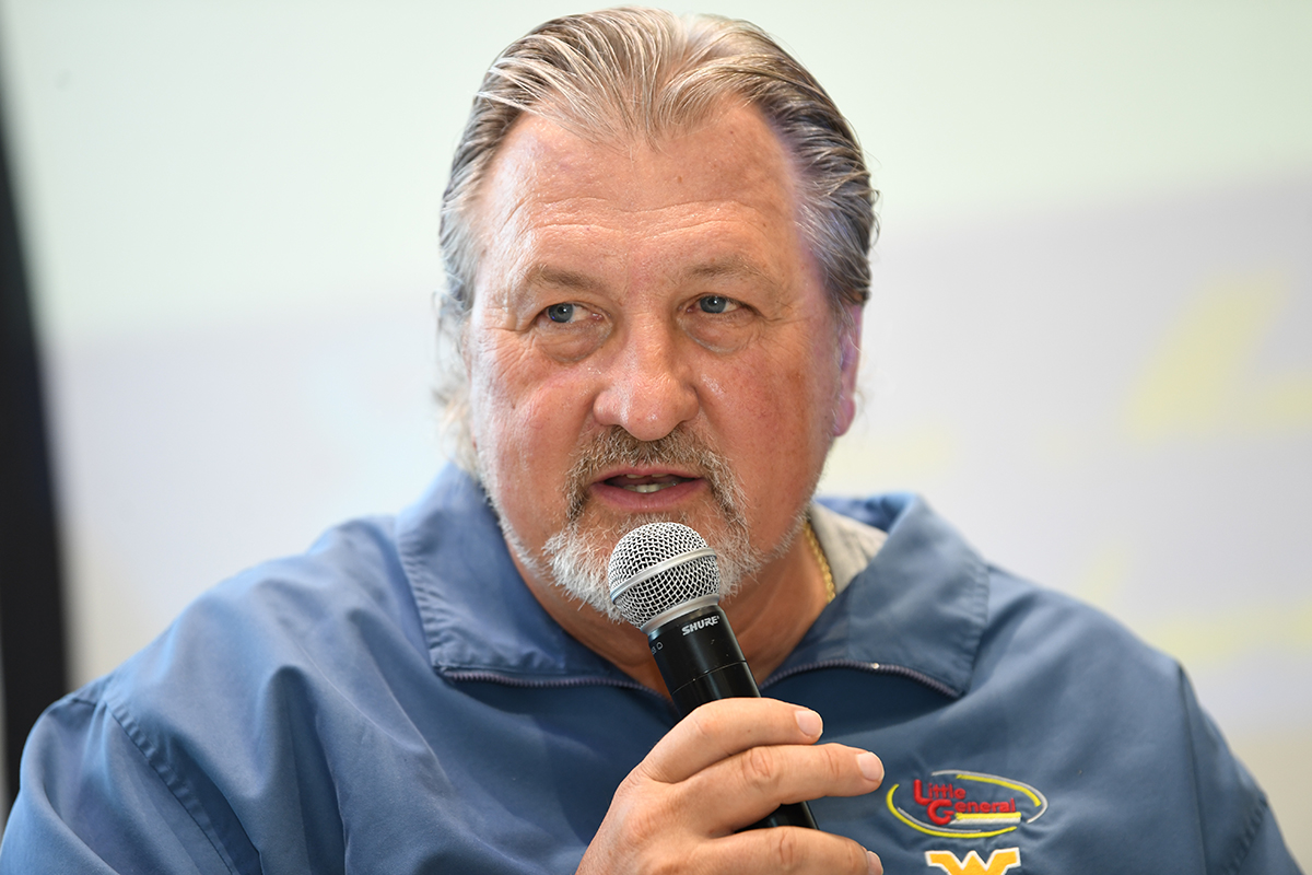 WVU Men's Basketball Head Coach Bob Huggins speaks at a fundraising event in Beckley to benefit the Norma Mae Endowment Fund at the WVU Foundation.