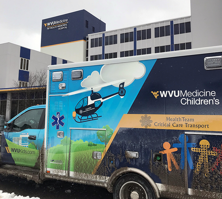 The WVU Medicine Children's Pediatric Transport Team arrives at Reynolds Memorial Hospital on Sunday, Jan. 20, to transport a newborn to the Neonatal Intensive Care Unit in Morgantown.