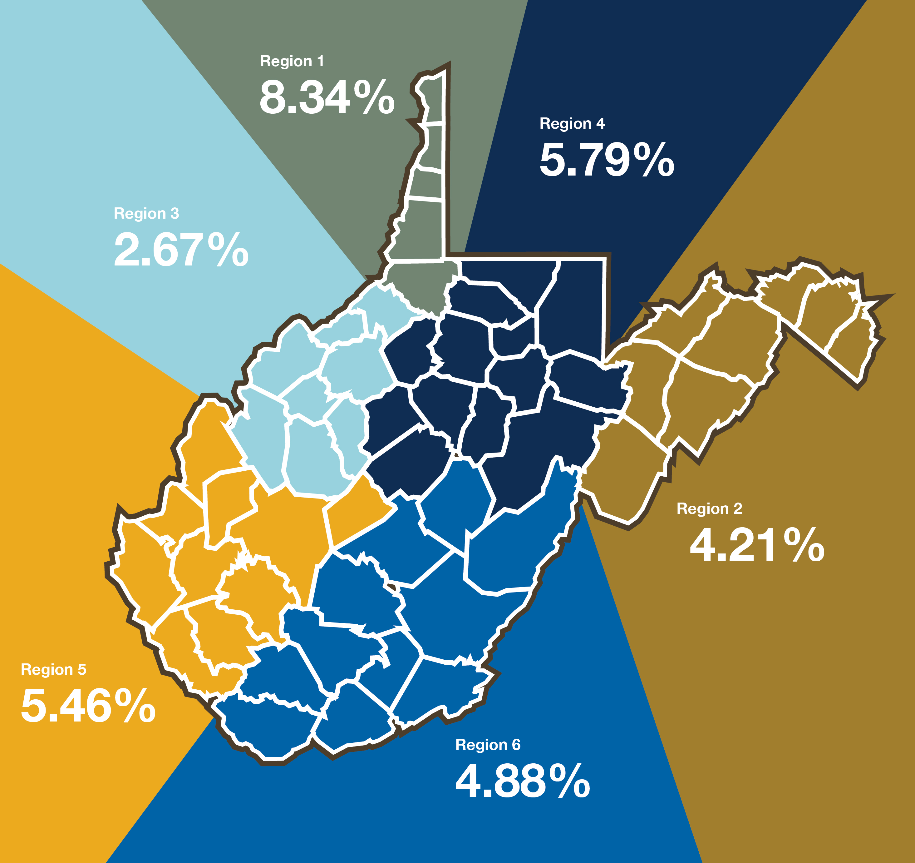 This map presents the incidence of NAS in six West Virginia regions during the researchers' data collection in 2017.