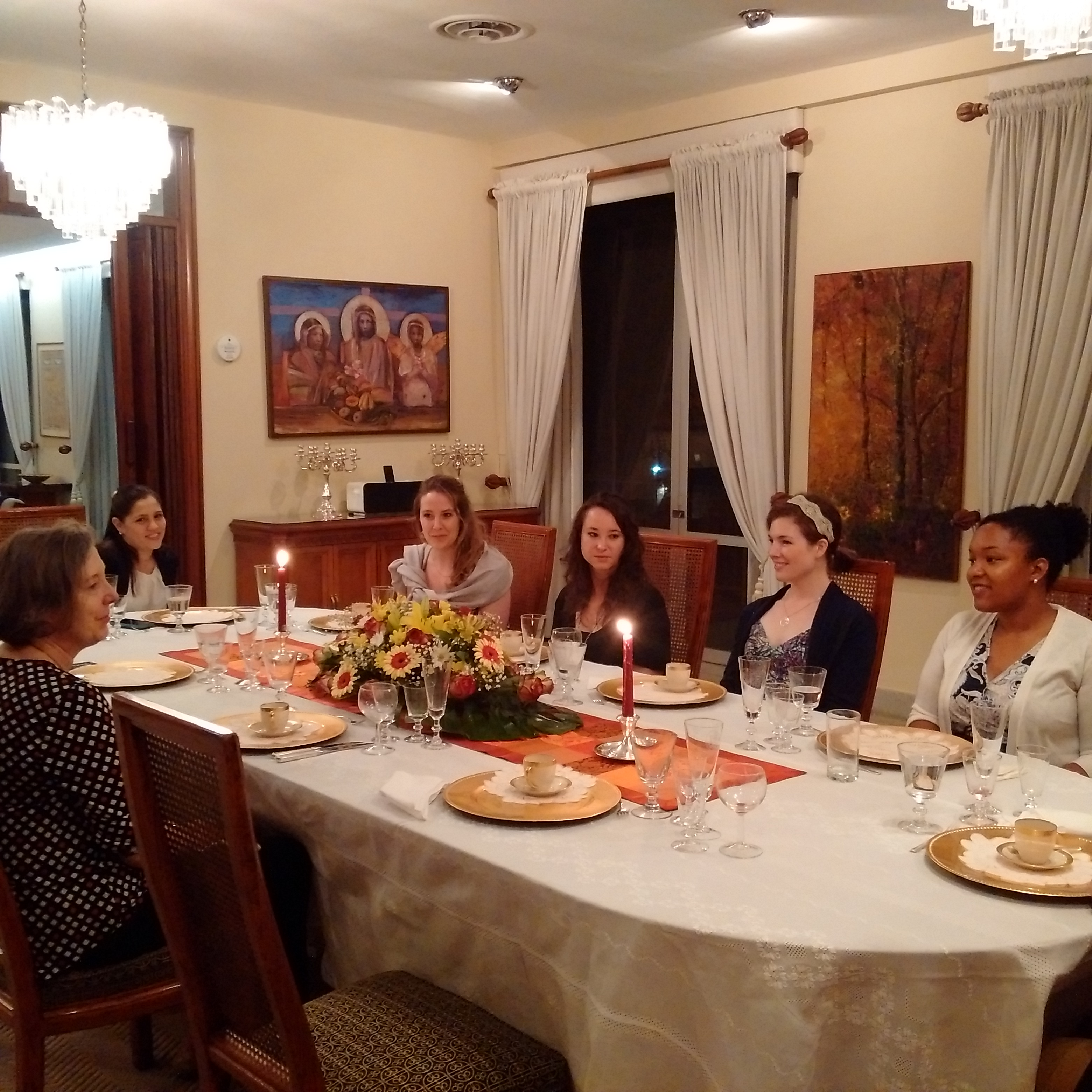 WVU medical students having dinner at the US Embassy in Paraguay