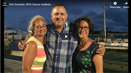 WVU Cancer Institutepatient and cancer survivor Erin Dunmire's journey gives hope and inspiration to othersdiagnosed with glioblastoma multiforme.