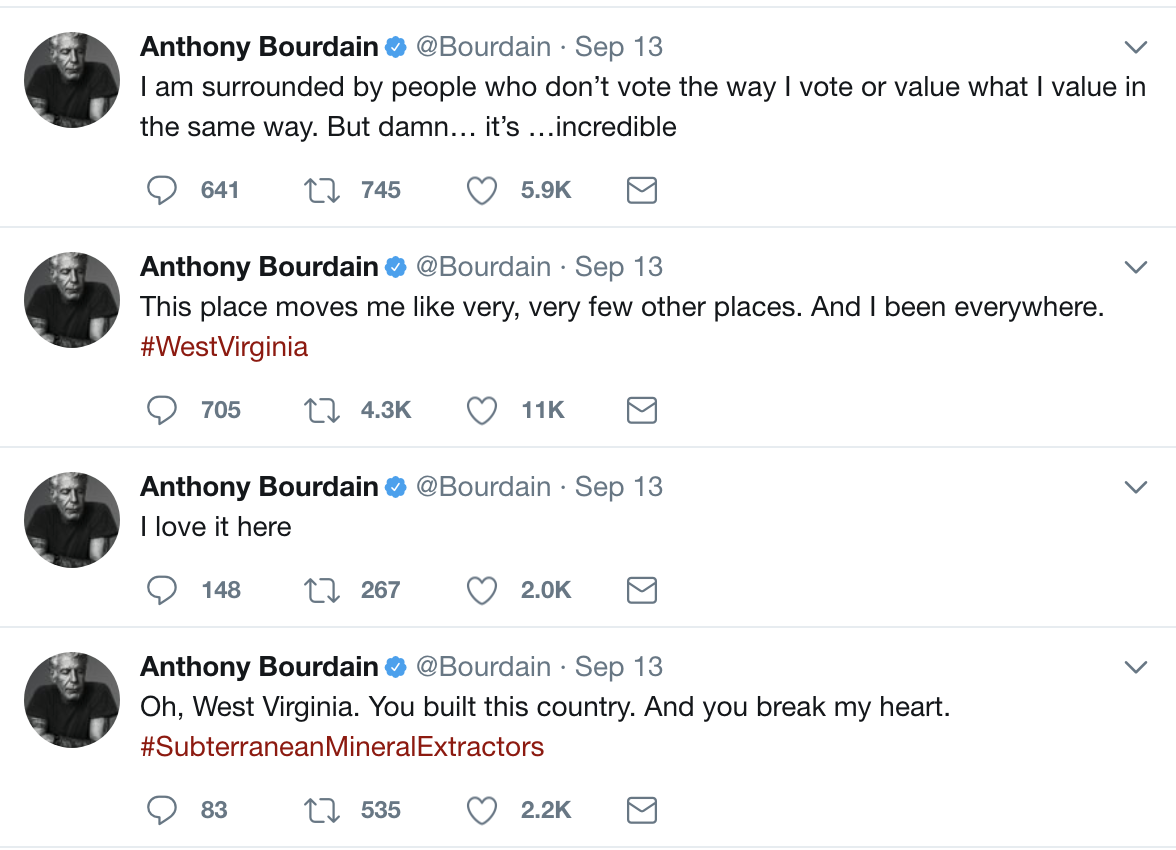 Anthony Bourdain's screenshot tweets about West Virginia
