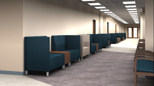 The waiting area for patients would be updated and transformed.