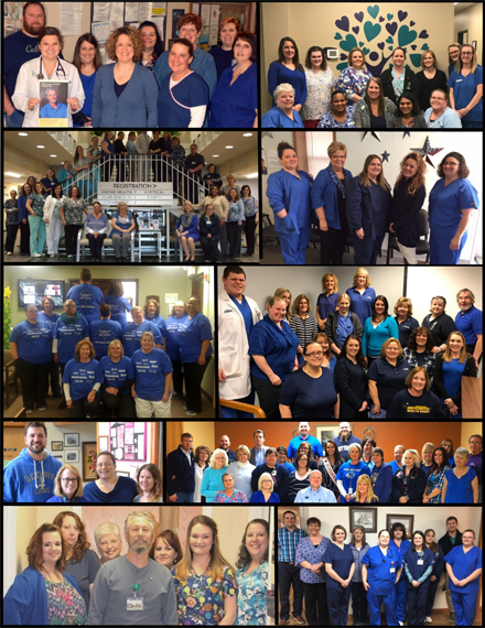 "Collage of clinic staff wearing Blue for ""Dress in Blue Day""  Promotion for Colorectal Cancer."