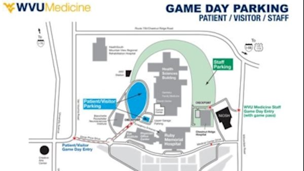 Football games to affect patient, visitor parking on the WVU