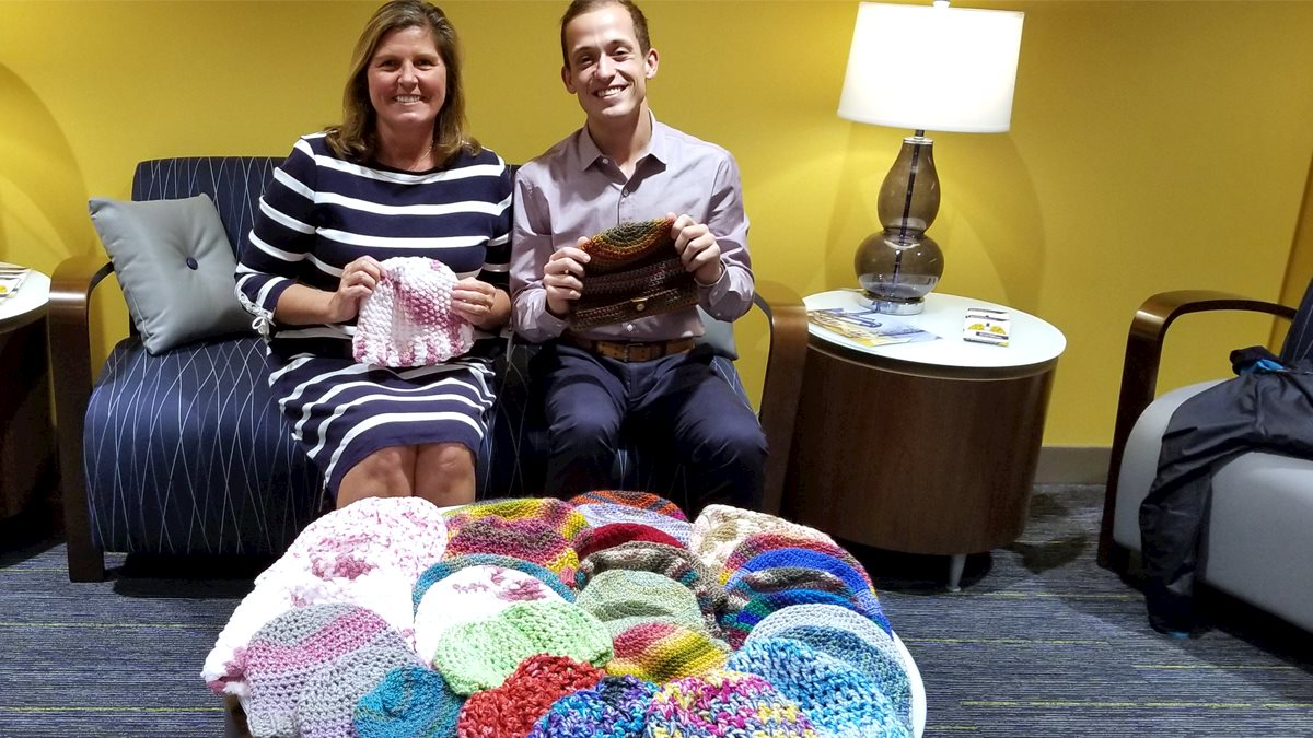 Grateful patient donates hats to patients at Mary Babb Randolph Cancer Center