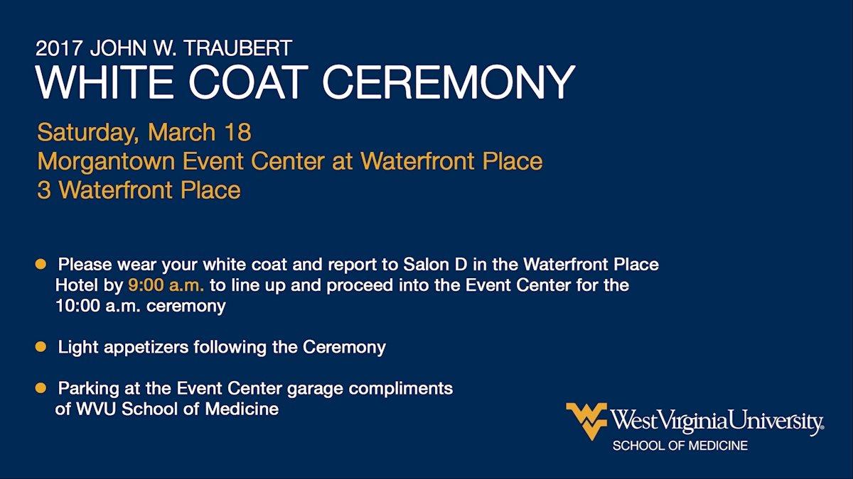 Please RSVP: M.D. Program White Coat Ceremony