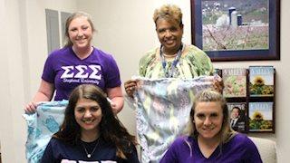 Shepherd University sorority makes blankets for newborns at WVU Medicine Berkeley Medical Center